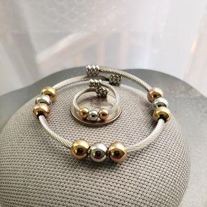 Stainless Steel Trio-Color Bead Bracelet & Ring